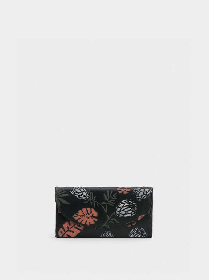 Pop Flower Wallet, Black, hi-res
