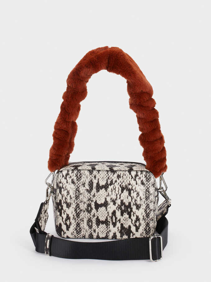 Embossed Faux Snakeskin Crossbody Bag, Ecru, hi-res