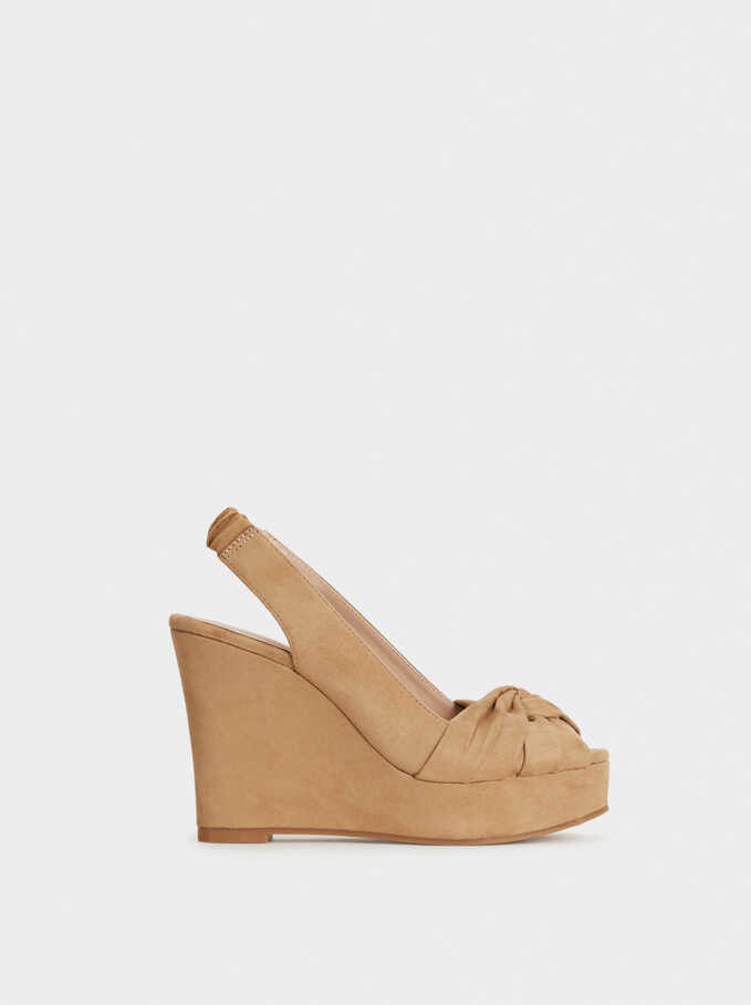 High Heel Wedges With Knot Detail, Beige, hi-res