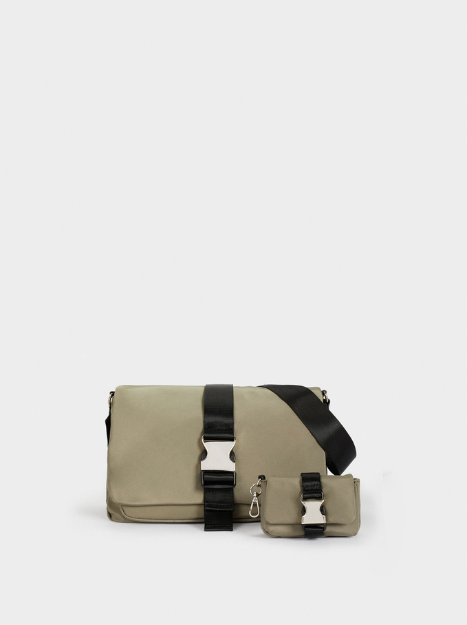 Nylon Crossbody Bag With Buckle, Khaki, hi-res