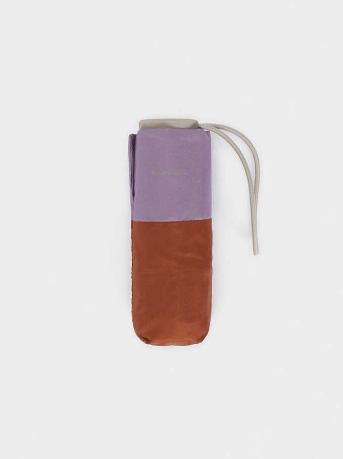 Petit Parapluie Pliant Bicolore, Marron, hi-res