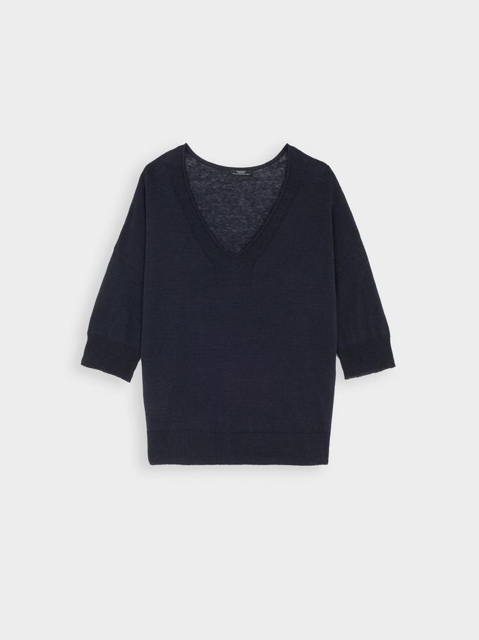 Knitted V-Neck Sweater, Navy, hi-res
