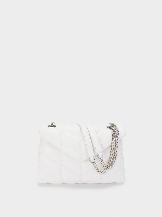 Quilted Shoulder Bag With Contrast Strap, White, hi-res