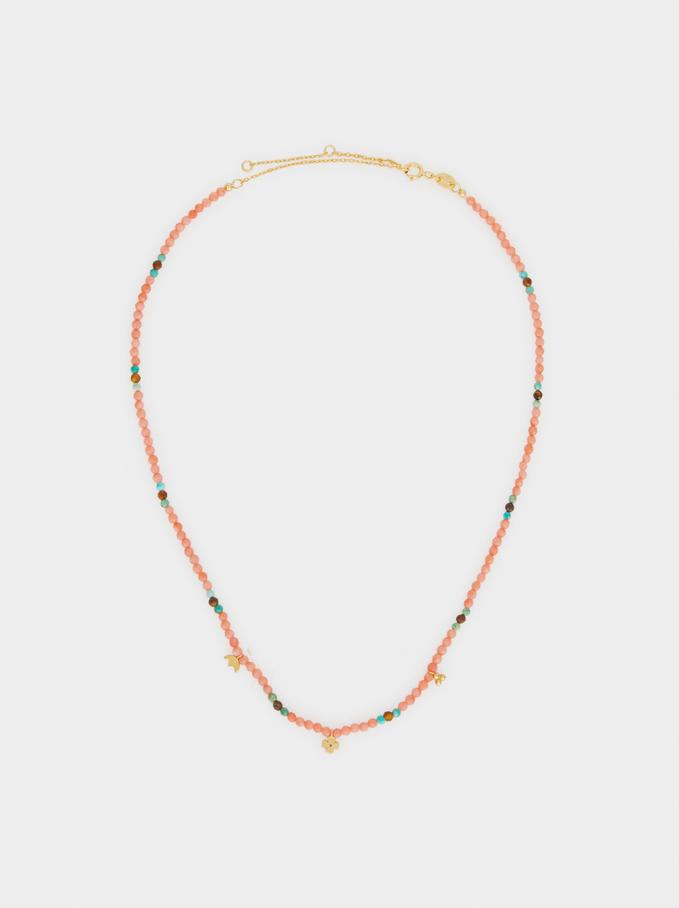 Collar Corto De Plata 925 Abalorios, Coral, hi-res