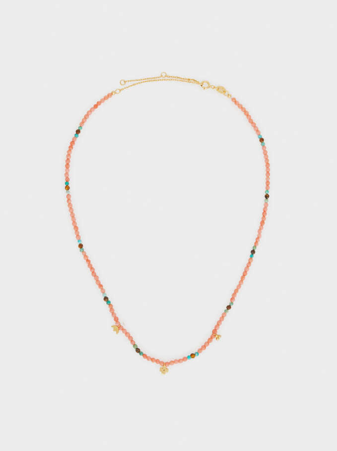 Short 925 Silver Necklace With Beading, Coral, hi-res