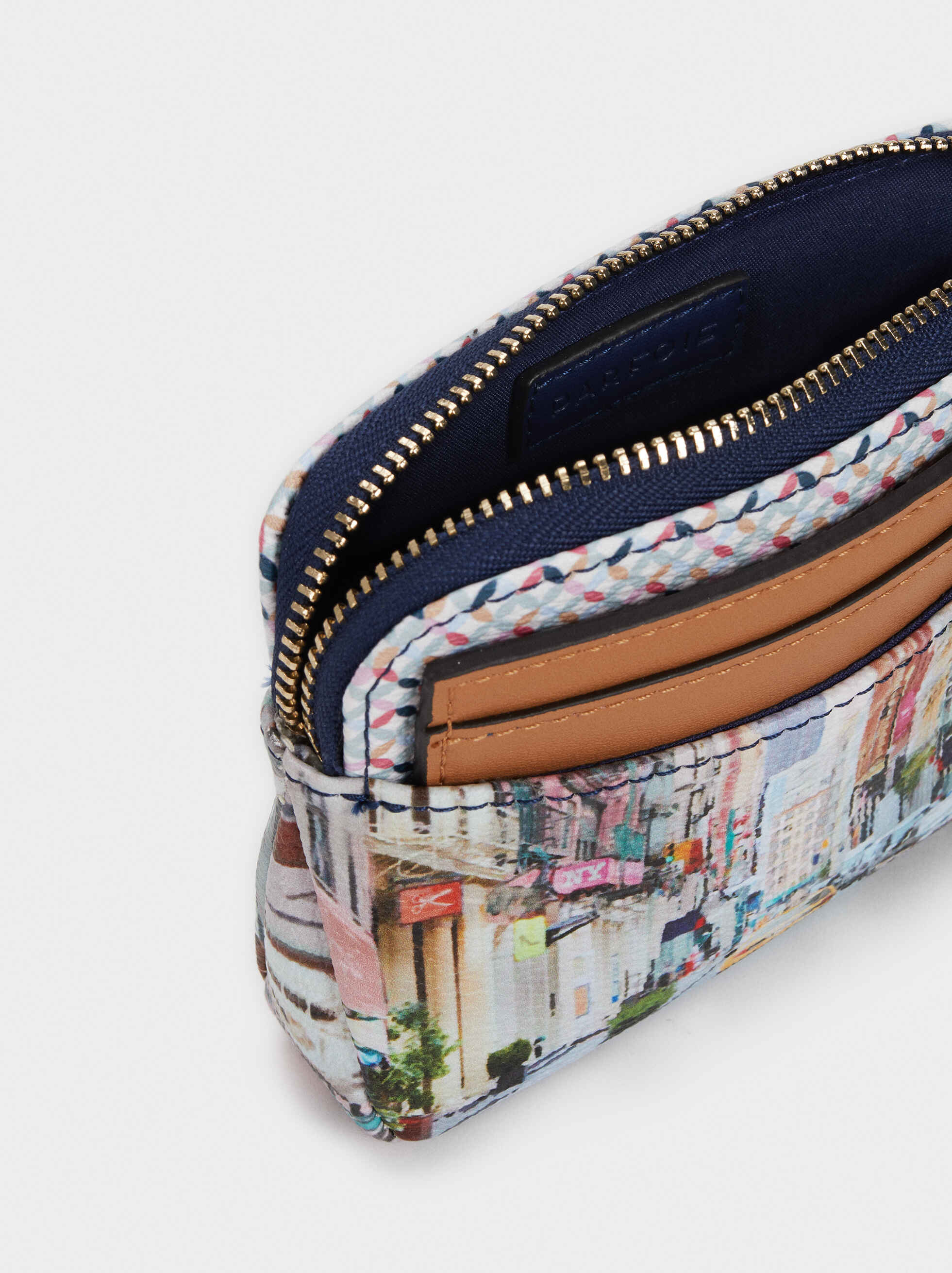 Multi-Use New York Print Purse, Camel, hi-res