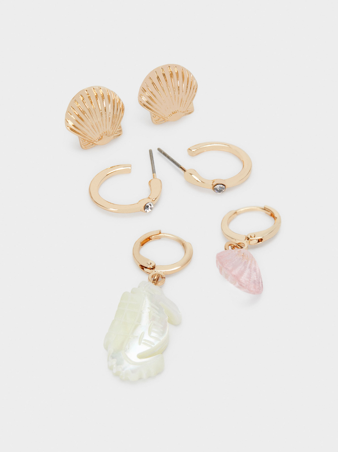 Set Of Hoop Earrings With Shell, Multicolor, hi-res