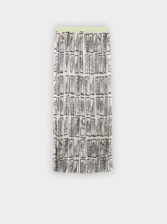 Printed Pleated Skirt, Ecru, hi-res