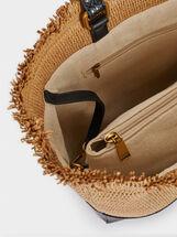 Raffia Tote Bag With Embossed Animal Print, Black, hi-res