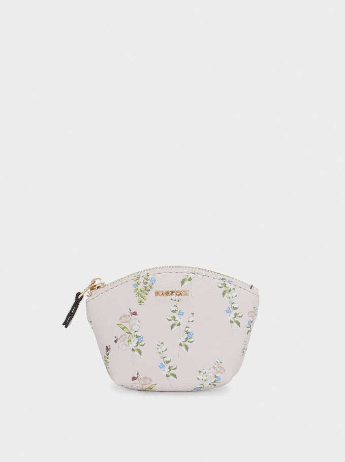 Floral Print Coin Purse, Pink, hi-res
