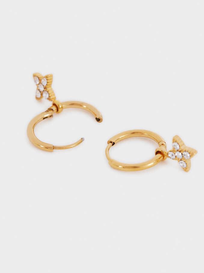 Stainless Steel Golden-Finish Small Earrings, Golden, hi-res