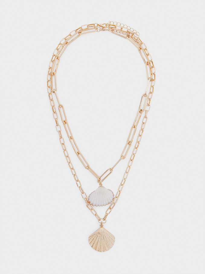Set Of Necklaces With Shell Pendants, Golden, hi-res