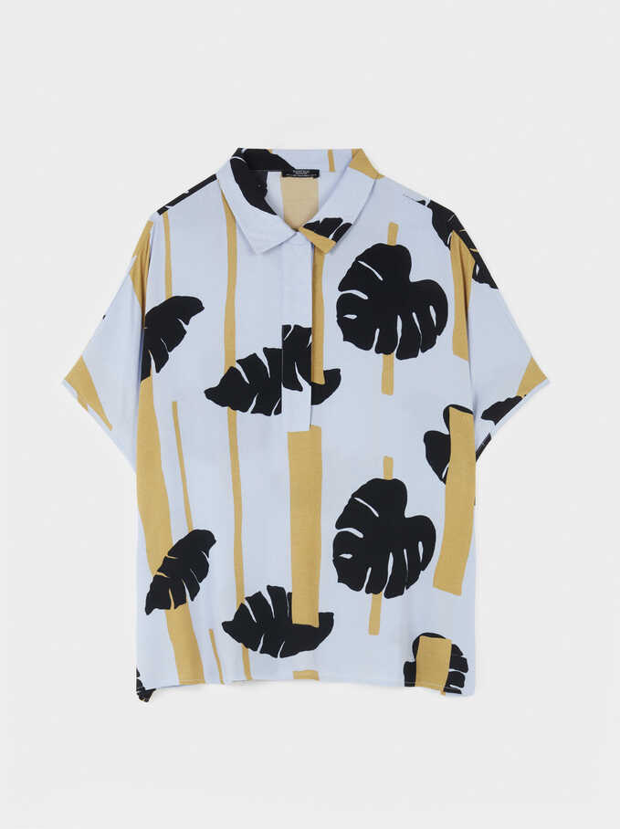 Oversized Leaf Print Shirt, Blue, hi-res