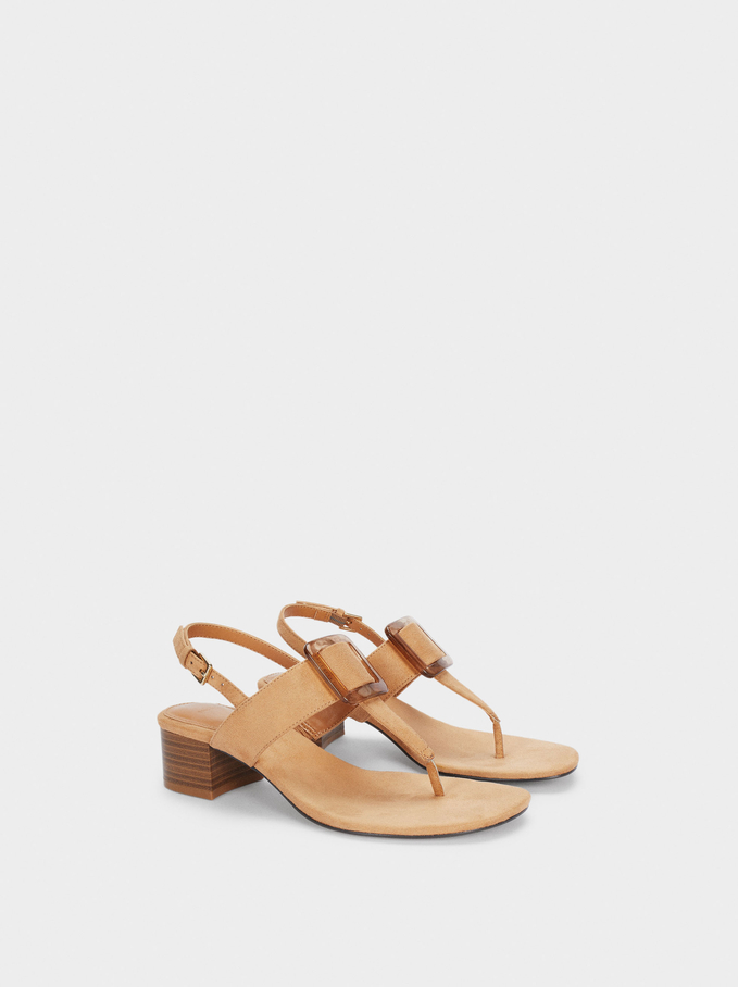 Buckled Mid-Heel Sandals, Camel, hi-res