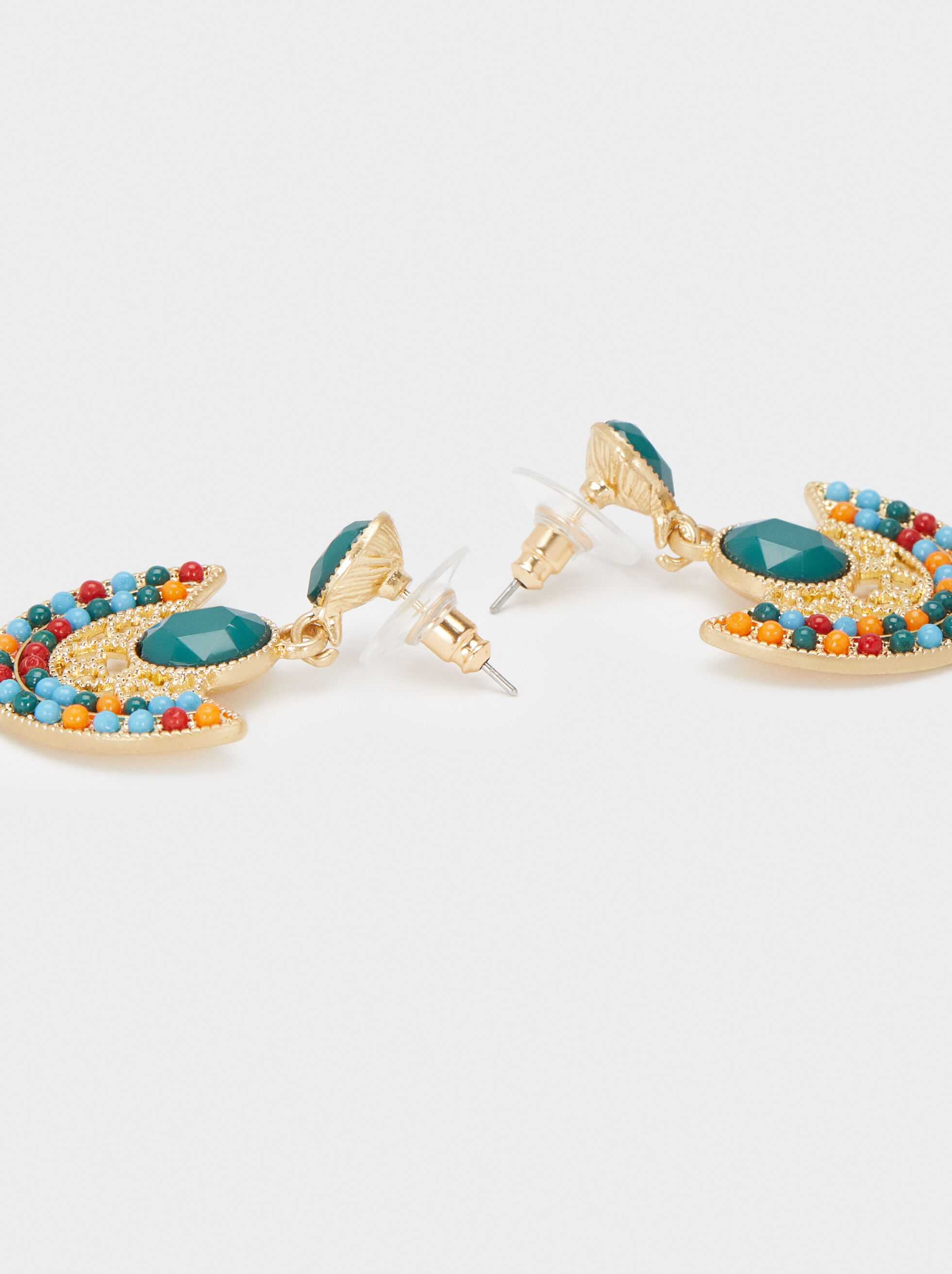 Medium Gold Earrings, Multicolor, hi-res