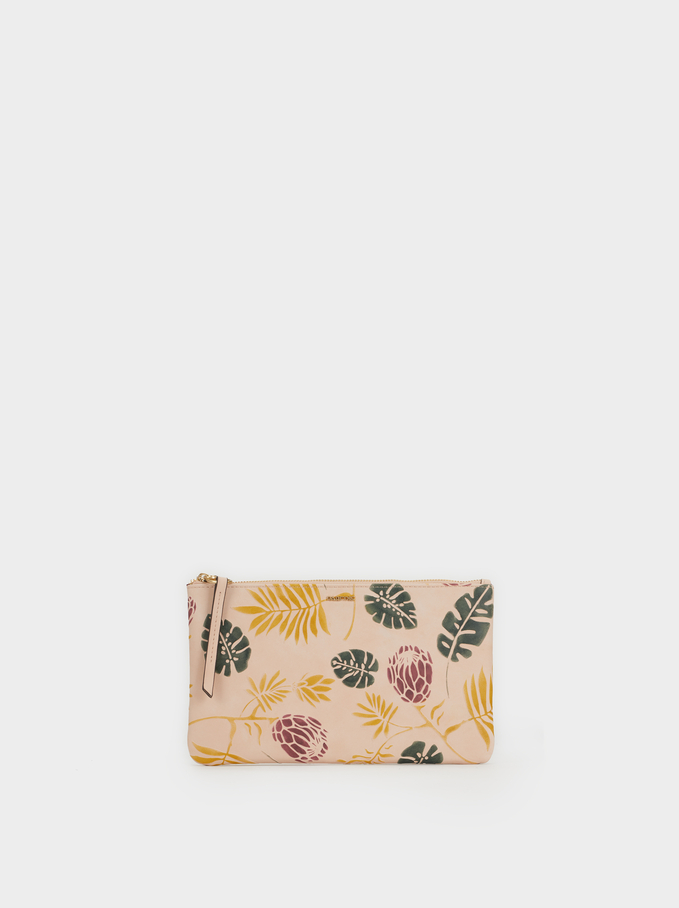 Pochette De Cosmetique Pop Flower, Beige, hi-res