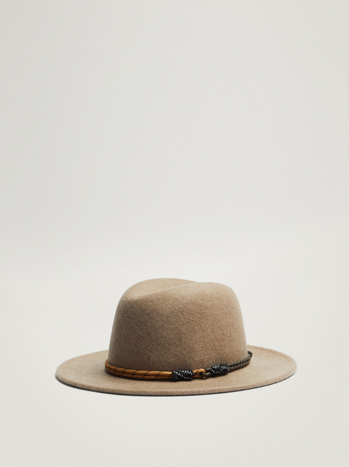 Woollen Hat With Cord Band, Brown, hi-res