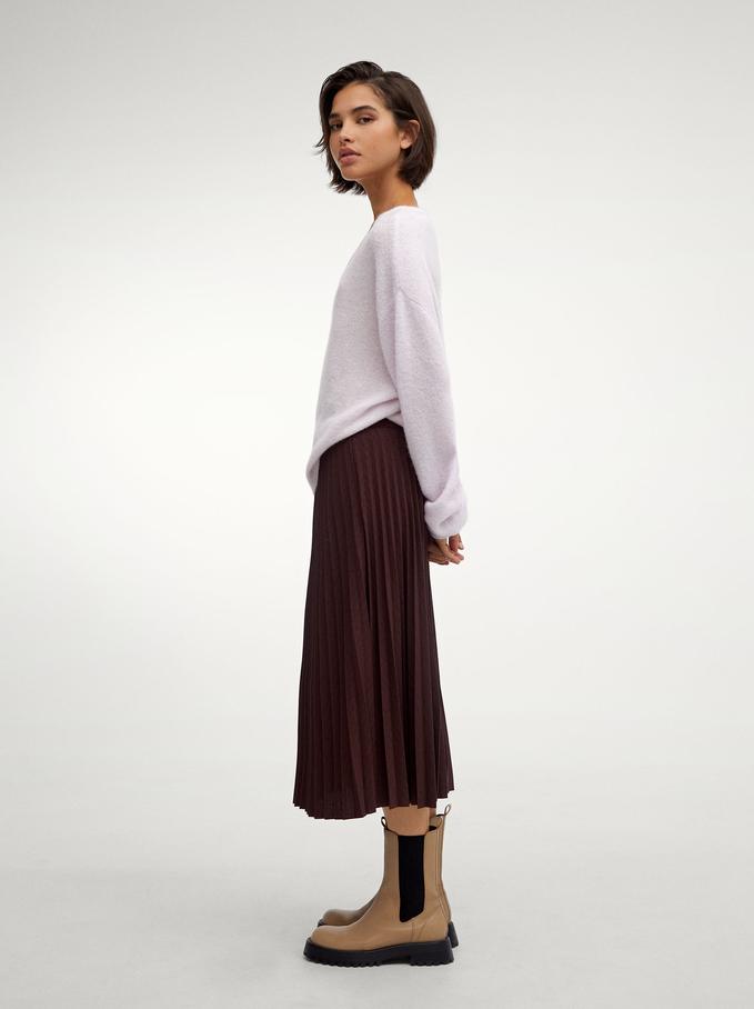 Pleated Skirt With An Elastic Waistband, Bordeaux, hi-res