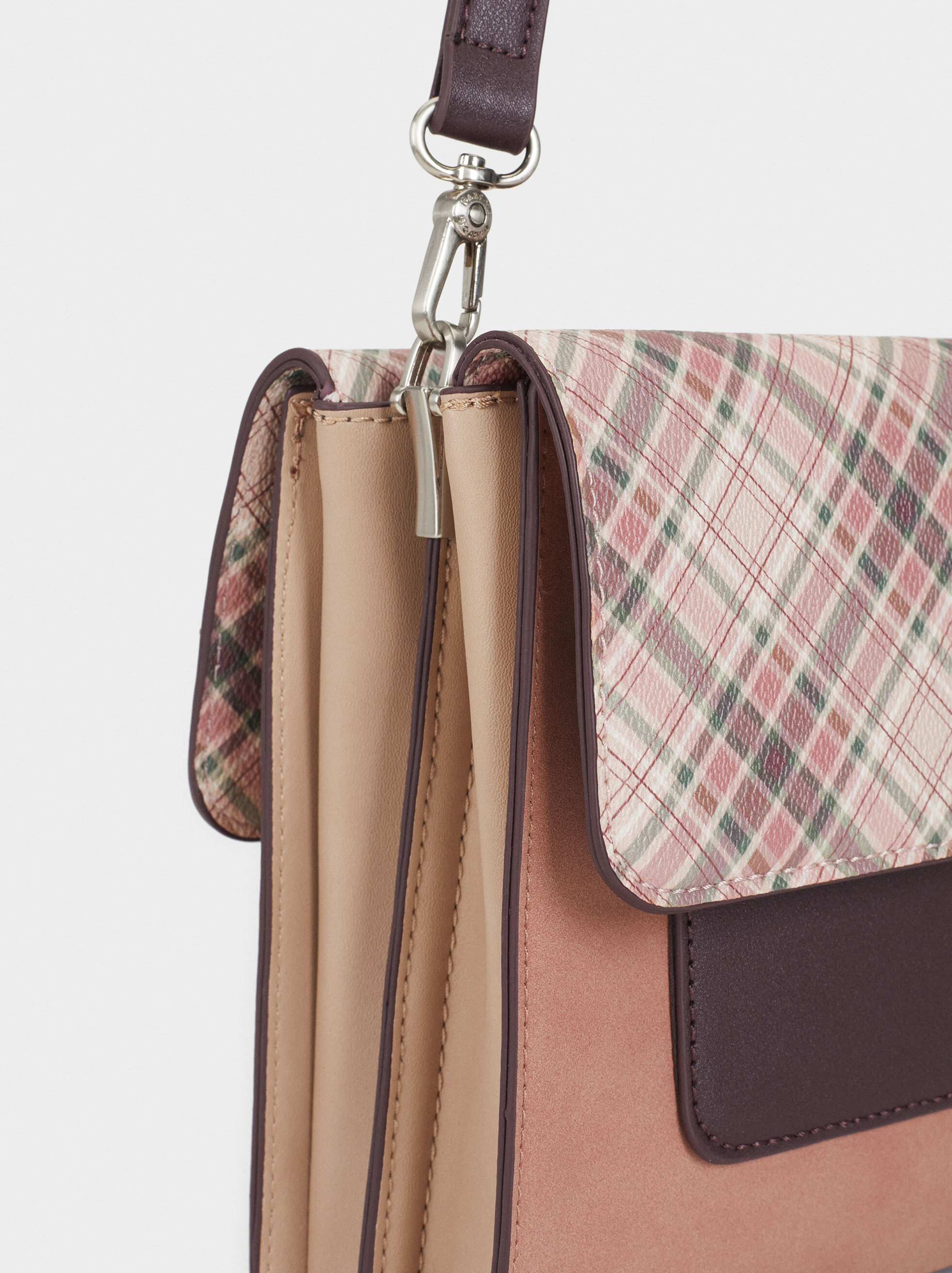 Crossbody Bag With Check Print Flap, Pink, hi-res