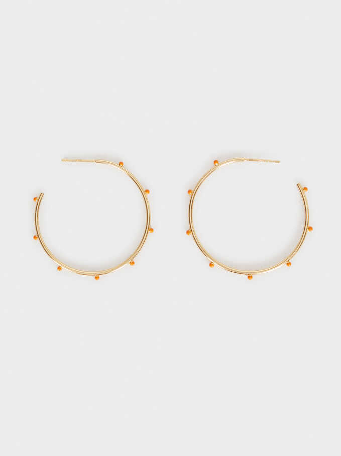 925 Silver Hoop Earrings, Coral, hi-res