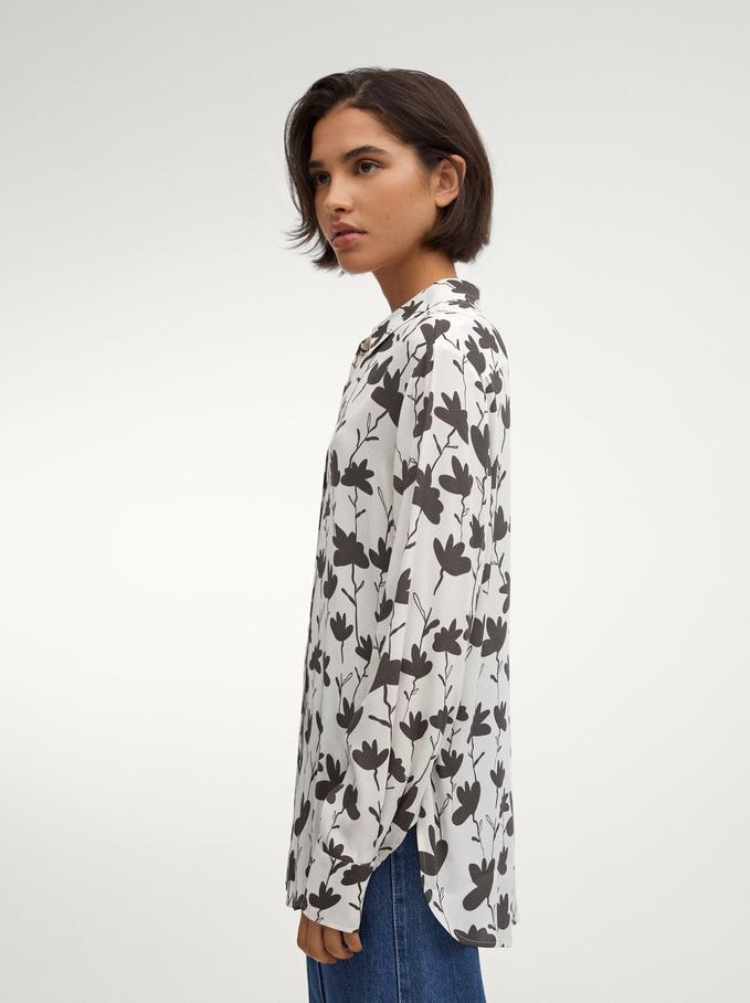 Floral Print Flowing Shirt, Grey, hi-res