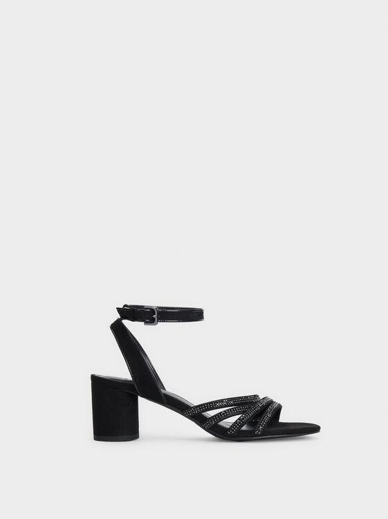 Bejewelled Heeled Sandals, , hi-res