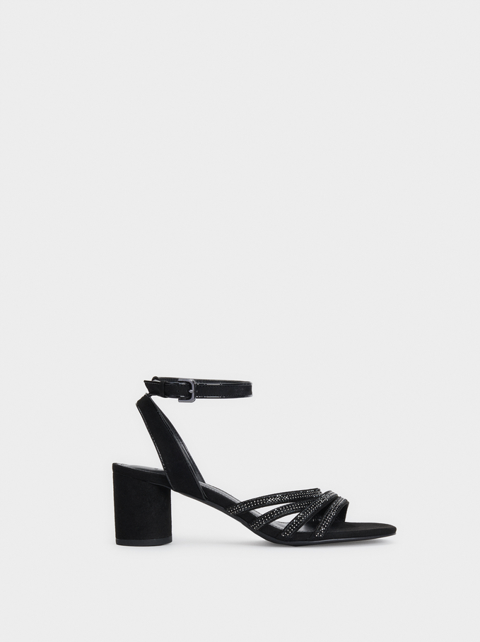 Bejewelled Heeled Sandals, Black, hi-res