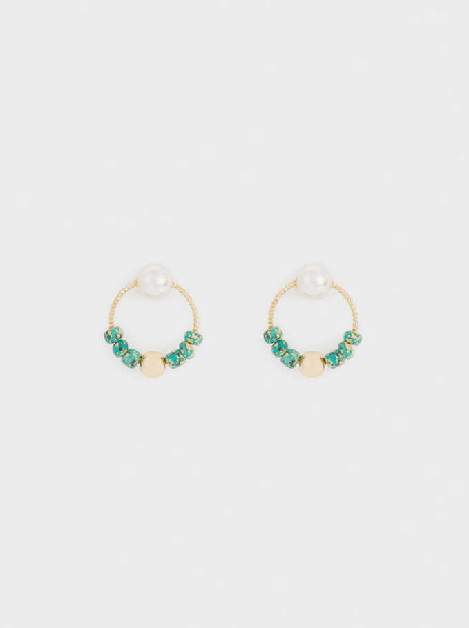 Short Gold Earrings With Stone Detail, Violet, hi-res