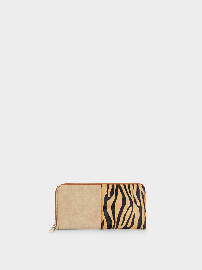 Long Printed Leather Purse, Camel, hi-res