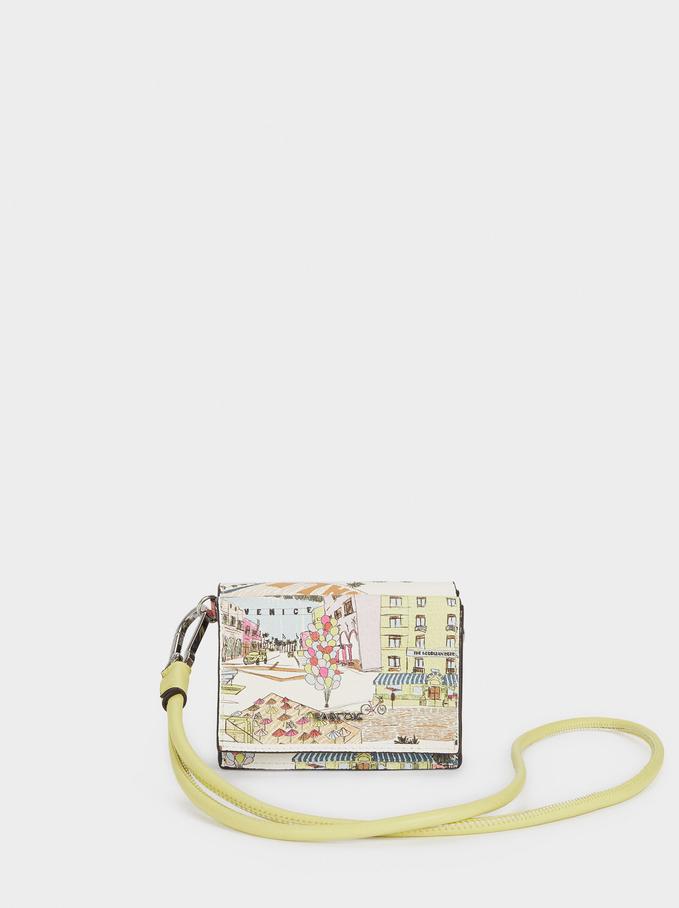 Portefeuille Imprimé Avec Dragonne, Écru, hi-res