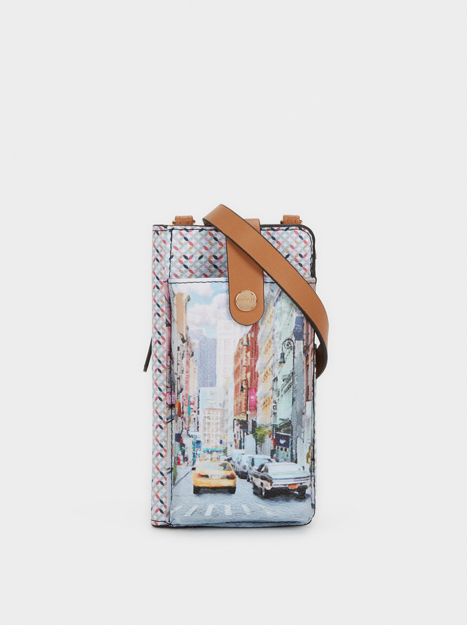 New York Print Mobile Phone Carrying Case, Camel, hi-res