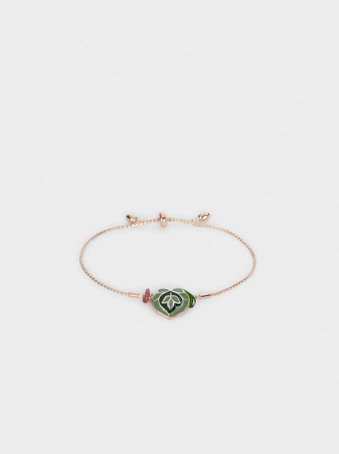 Rose Gold Adjustable Bracelet With Leaf, Multicolor, hi-res