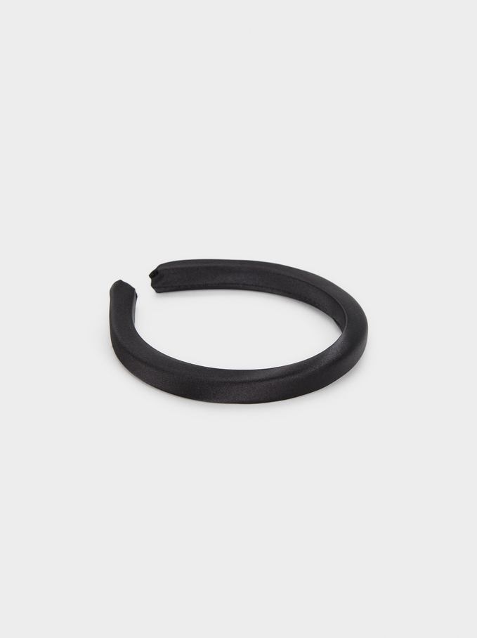 Plain Headband, Black, hi-res