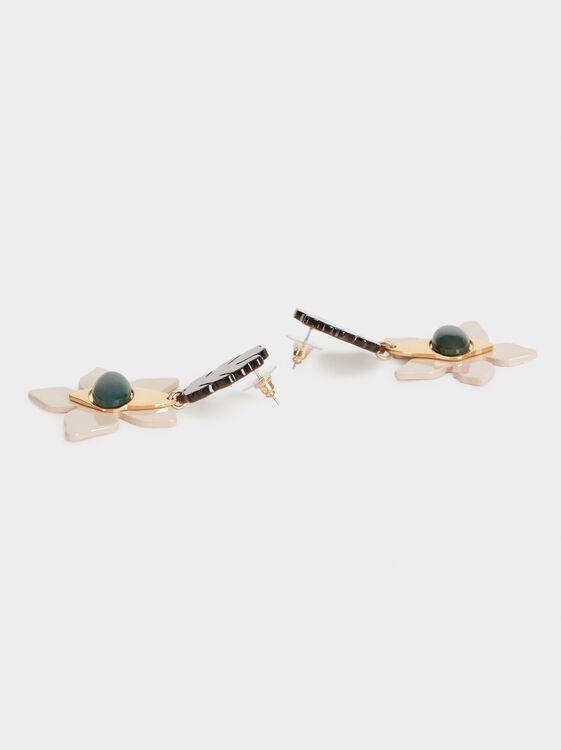 Long Stone Story Flower Earrings, Multicolor, hi-res
