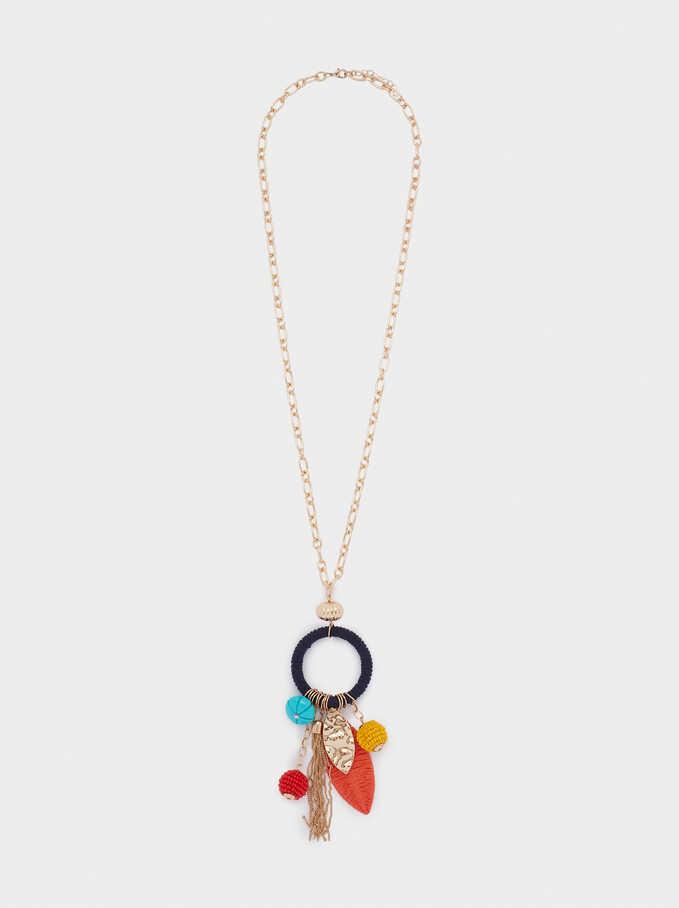 Long Necklace With Pendants, Golden, hi-res