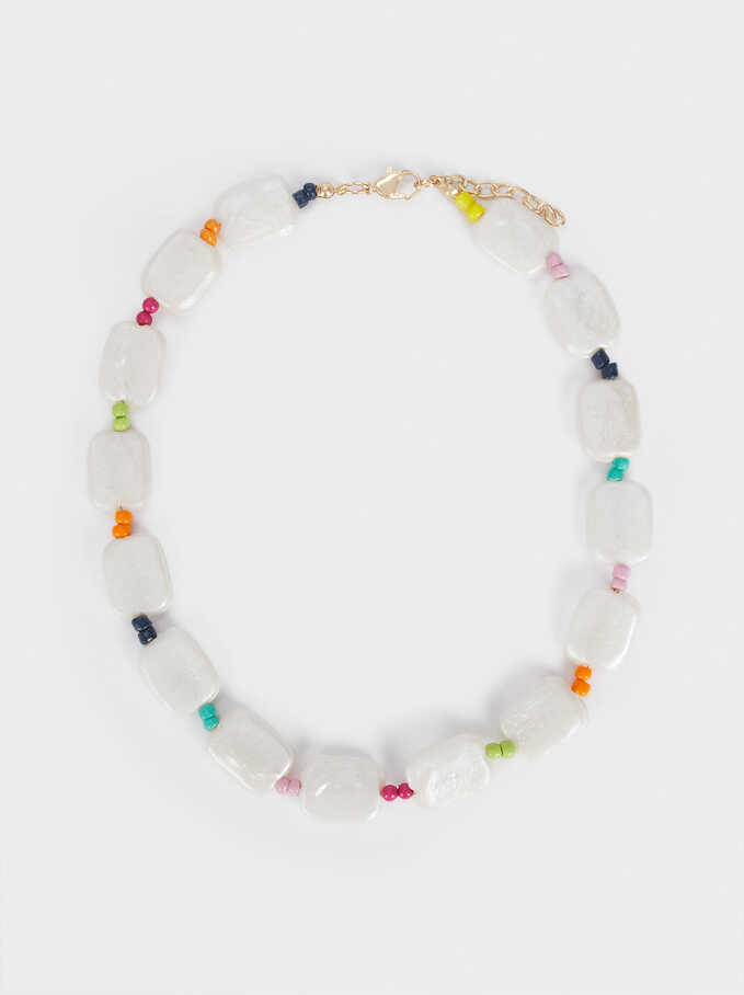 Short Necklace With Crystals, Multicolor, hi-res