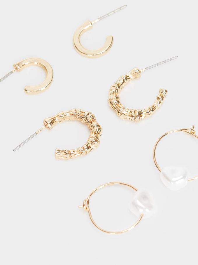Set Of Gold Metal Hoop Earrings, Golden, hi-res