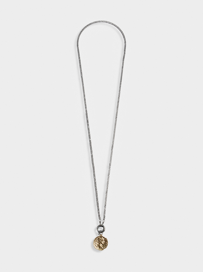 Long Necklace With Medallion, Multicolor, hi-res
