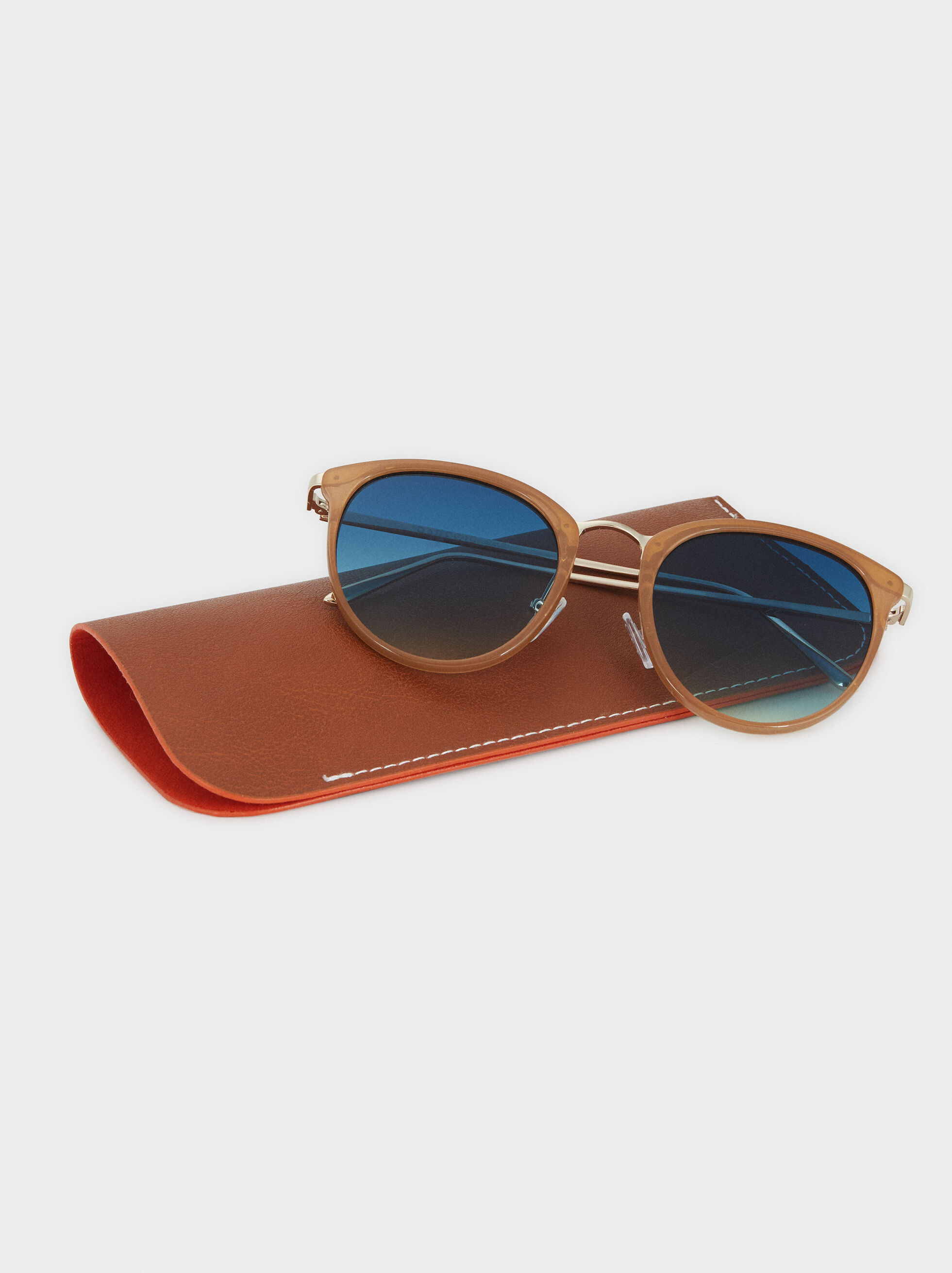 Sunglasses With Round Frames, Camel, hi-res