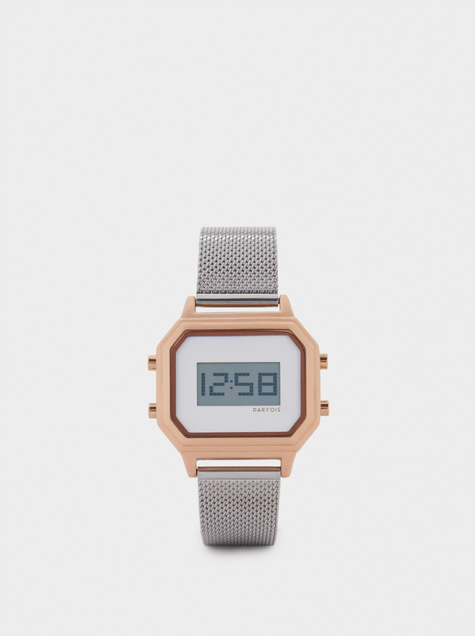 Zegarek Cyfrowy Z Kwadratowa Tarcza, Srebrny, hi-res
