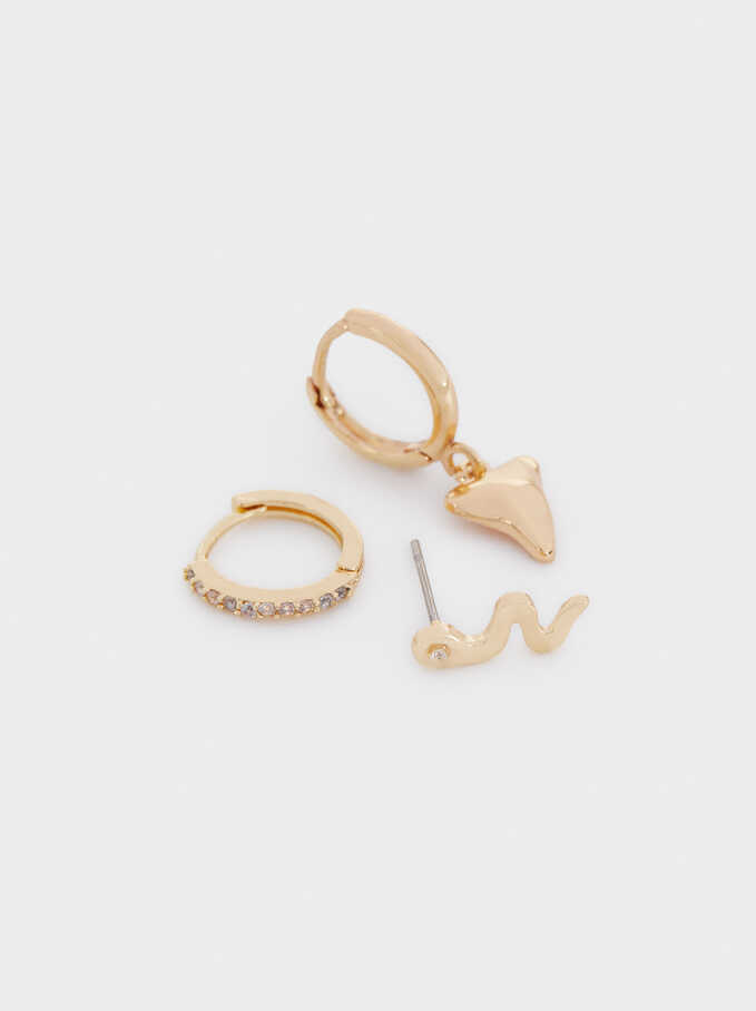 Set Of Small Hoops With Snake And Horn, Golden, hi-res