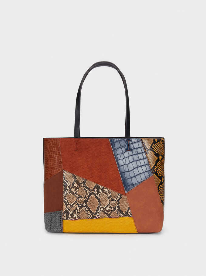Patchwork Design Tote Bag, Camel, hi-res