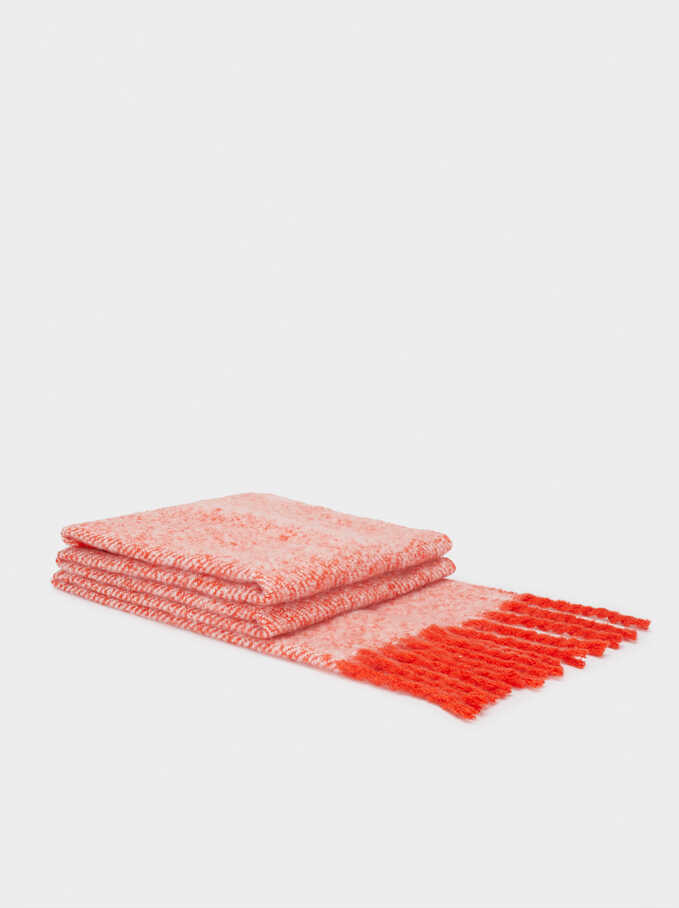 Blanket Scarf With Fringing, Red, hi-res