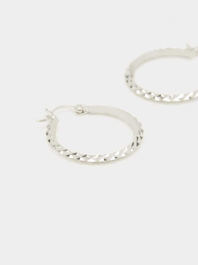 Basic Medium Hoop Earrings, Silver, hi-res