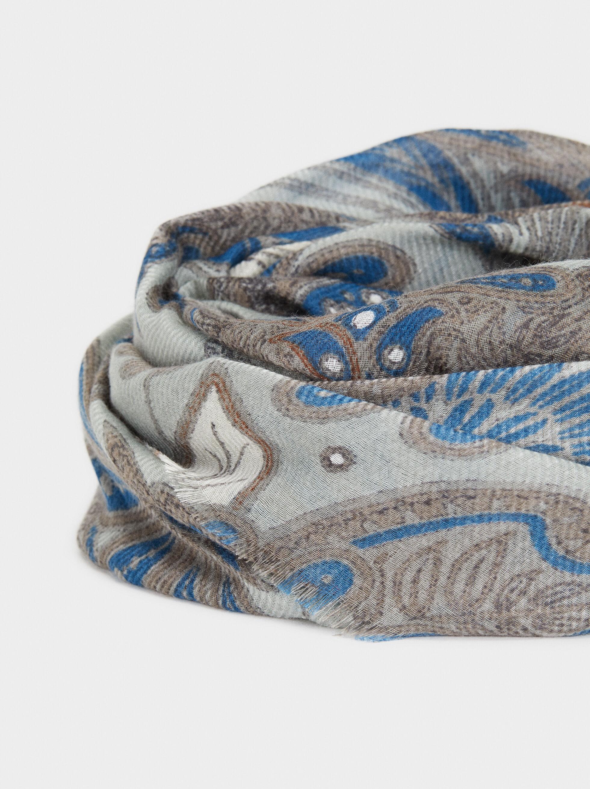 Foulard Imprimé, Bleu, hi-res