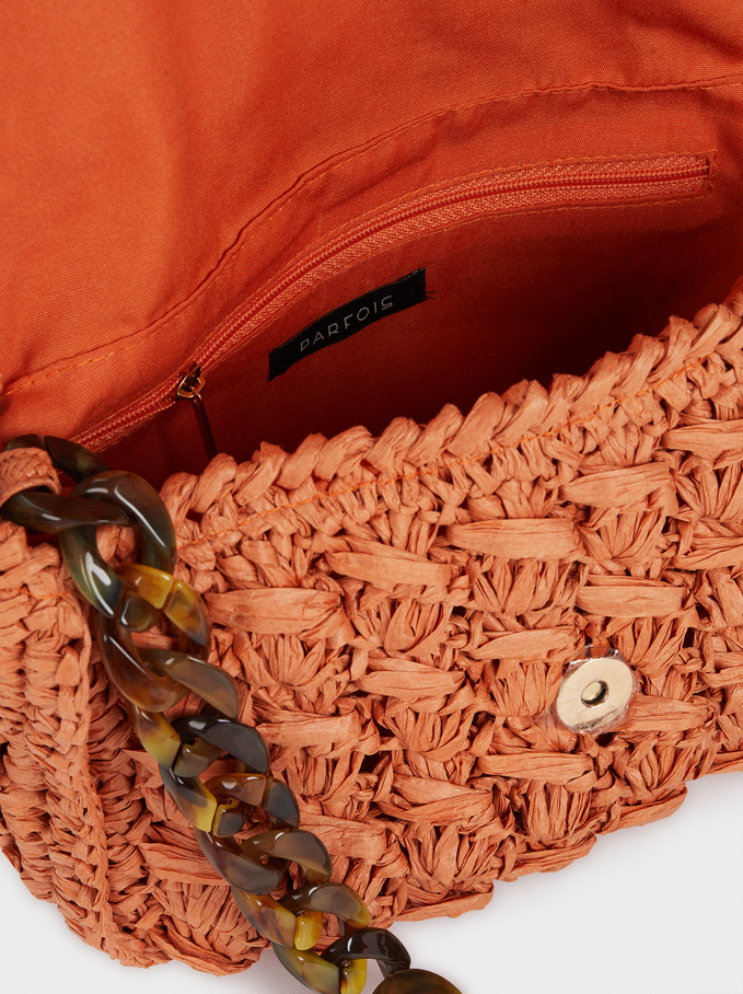 Crossbody Bag Made Of Braided Raffia, Orange, hi-res