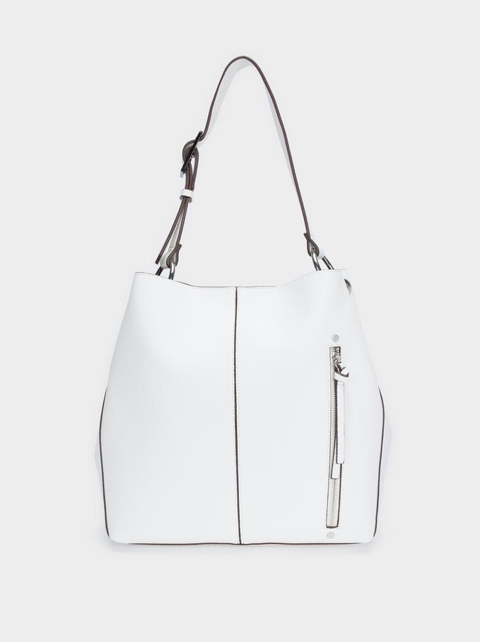 Mala Tipo Saco Bolso Exterior, Branco, hi-res