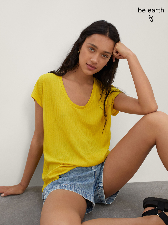 T-Shirt Made From Recycled Materials, Yellow, hi-res