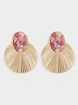 Petrified Long Stud Earrings, Pink, hi-res