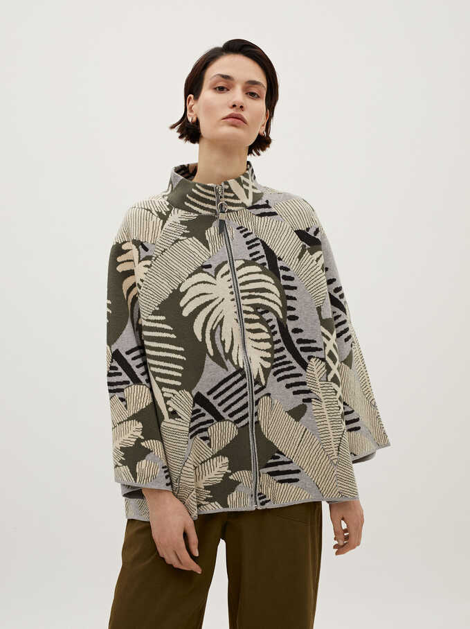 Knit Poncho With Leaf Print, Multicolor, hi-res